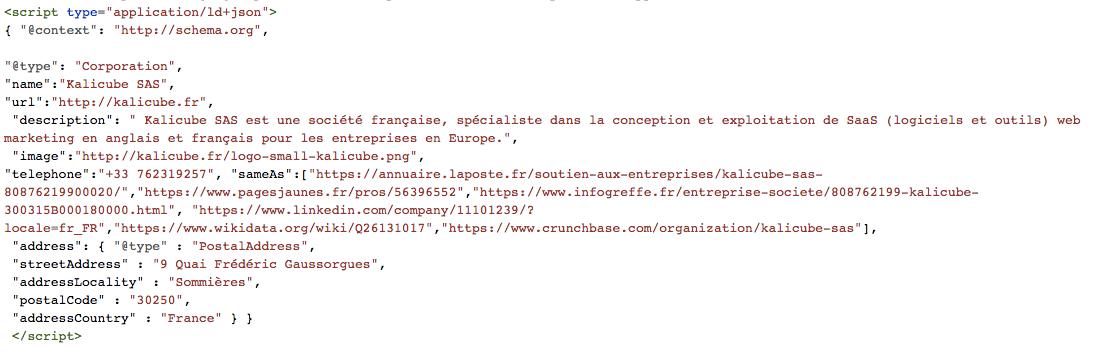 Balisage Schema JSON-LD pour Kalicube