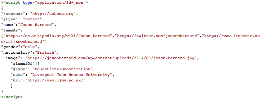JSON-LD Schema markup for Jason Barnard