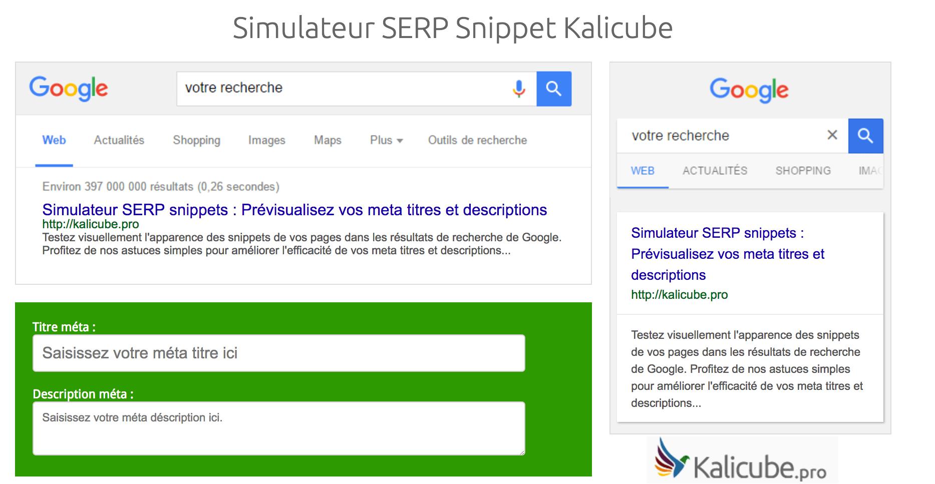 Simulateur SERP Snippet Kalicube